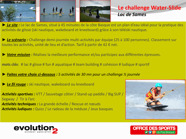 Challenge Water slide Lac de Sames